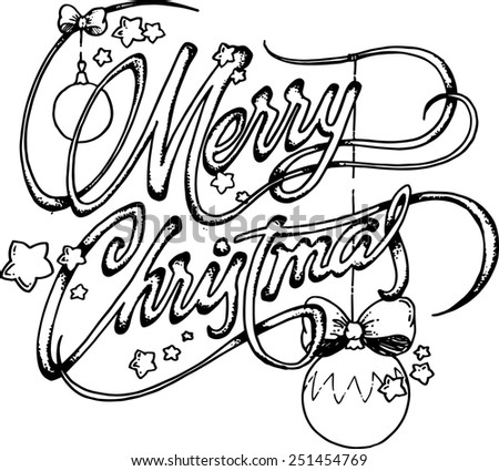 Drawing of Merry Christmas typography.  - stock vector