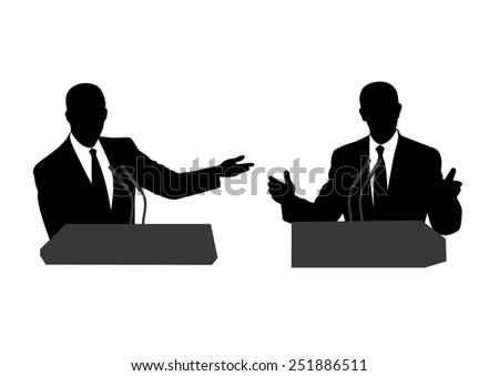 drawing of people before a microphone - stock vector