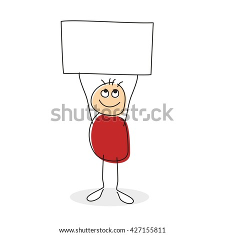 Drawing of person with red round body holding square above his circle head in string arms with empty sign with copy-space - stock vector