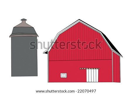 Drawing Of Red Barn With Silo