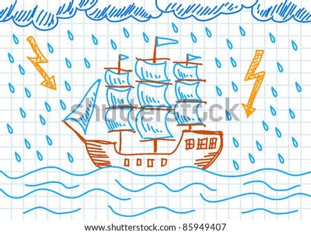 Drawing of sailboat - stock vector