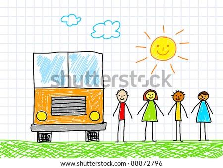 Drawing of school bus - stock vector