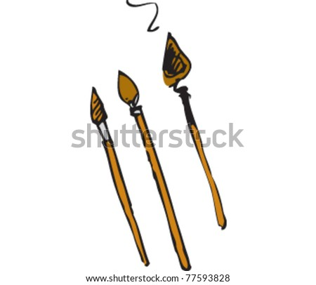 Drawing of some brushes - stock vector