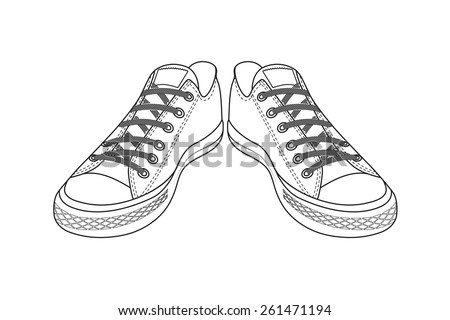 drawing of sports shoes youth easy footwear - Easy Sports Drawings