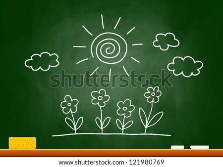 Drawing of sun and flowers on blackboard - stock vector