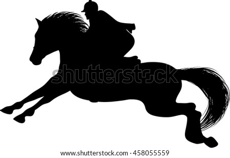 Drawing of the silhouette of the jockey on horseback, horse jumps - stock vector