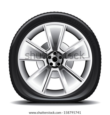 Drawing of the tire on a white background - stock vector