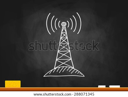 Drawing of transmitter on blackboard - stock vector