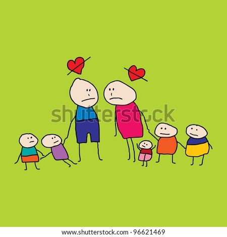 Drawing of two people (man and woman) with children who are fighting and angry, in a divorce - stock vector