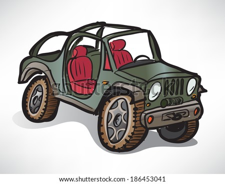 drawing off-road vehicle jeep khaki - stock vector