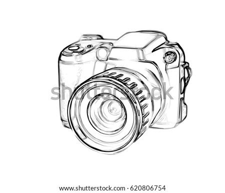Drawing Old Digital Photo Camera Simple Stock Vector 2018 620806754