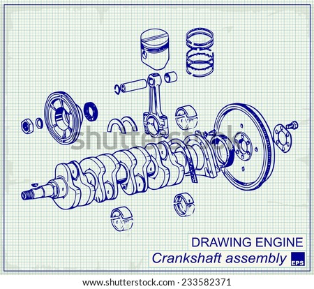 Drawing old engine, Crankshaft assembly, on graph paper. - stock vector