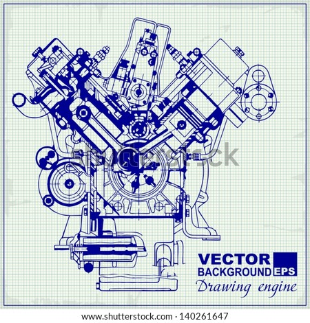 Drawing old engine on graph paper vector de stock140261647 shutterstock drawing old engine on graph paper vector background malvernweather Images