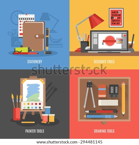 Drawing painter and designer tools flat color icon set isolated vector illustration - stock vector