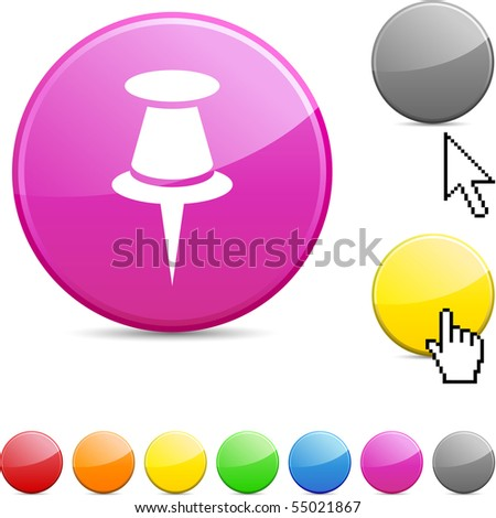 Drawing-pin glossy vibrant round icon. - stock vector