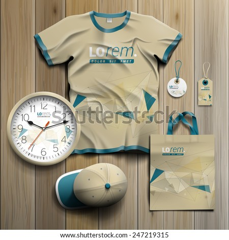 Drawing promotional souvenirs design for corporate identity with figures and schemes. Stationery set - stock vector