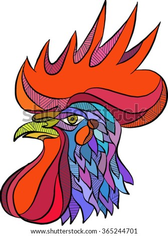 Drawing sketch style illustration of a chicken rooster head viewed from the side set on isolated white background.  - stock vector