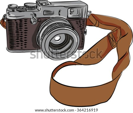 Drawing sketch style illustration of a vintage camera with srap viewed from front set on isolated white background.  - stock vector