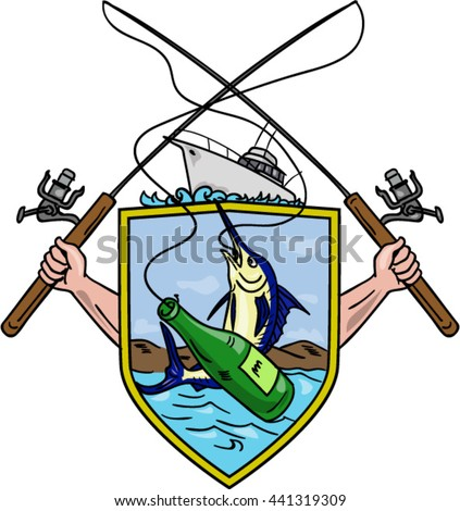Drawing sketch style illustration of hand holding fishing rod and reel hooking a beer bottle and blue marlin fish set inside crest shield shape coat of arms with deep fishing boat on done.  - stock vector