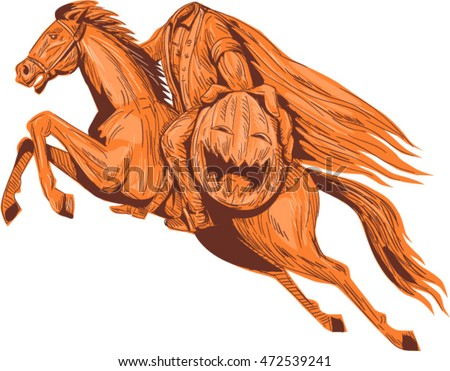 Drawing sketch style illustration of the headless horseman or galloping Hessian of sleepy hollow riding a horse and holding out his pumpkin head viewed from the side set on isolated white background
