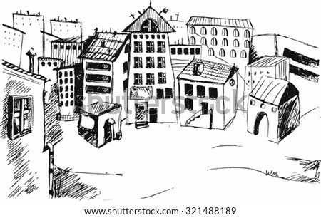 drawing street. Vector sketch.