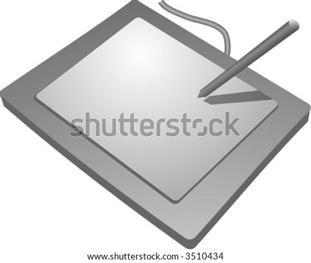 Drawing tablet input device, connects to computer to allow drawing - stock vector