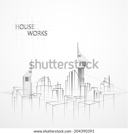 Drawing the city in perspective. Drawing buildings. - stock vector