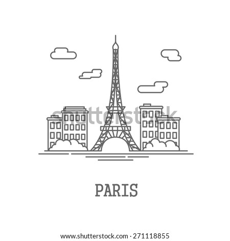 Drawing the silhouette of the city of Paris. Vector illustration - stock vector