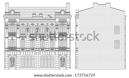 Drawing three-storey house in baroque style front and side - stock vector