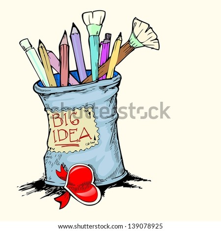 drawing tools hand draw isolated - stock vector