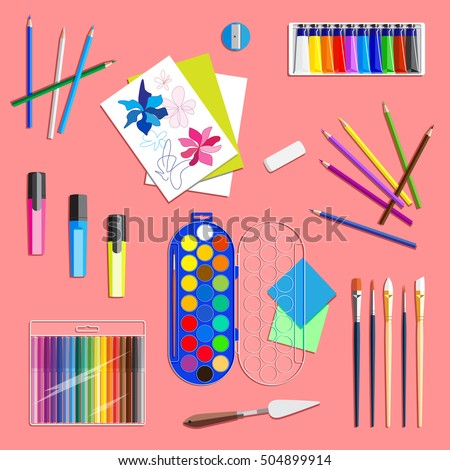 Drawing Tools Top View Stock Vector HD (Royalty Free) 504899914 ...