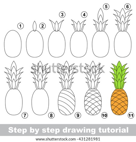Drawing Tutorial Children Easy Educational Kid Stock Vector