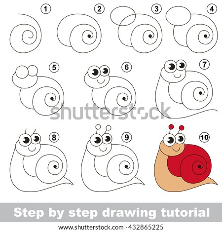 Drawing tutorial for children. Easy educational kid game. Simple level of difficulty. Kid education and gaming. Indoor games for children. How to draw Red snail. - stock vector