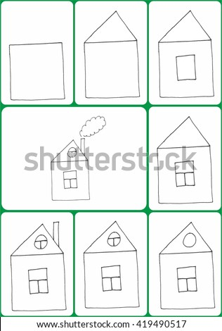 Drawing Tutorial For Children. How To Draw A House Step By Step