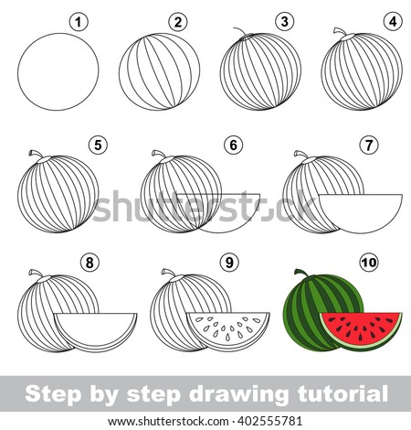 Drawing tutorial for children how to draw the funny watermelon