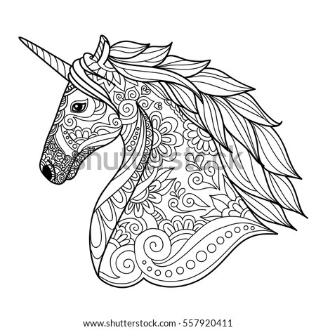 Unicorn Zentangle Style For Coloring Book Tattoo Shirt Design