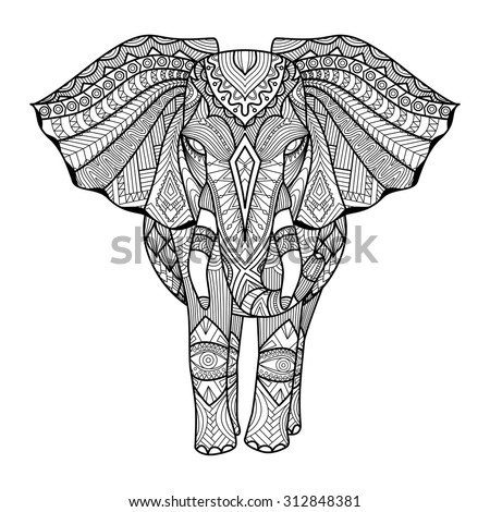 Drawing Unique Ethnic Elephant Print Patternlogoiconshirt Stock ...