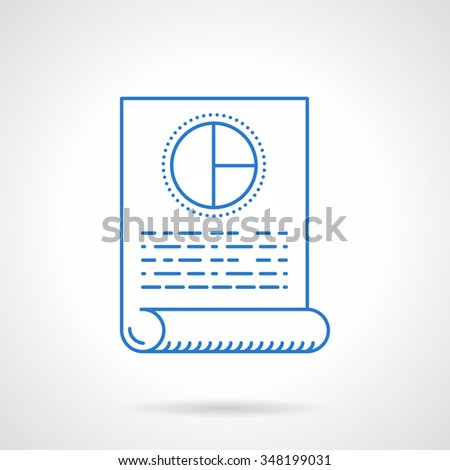 Drawing up a business plan, media plan. A document paper with abstract diagram and text. Flat blue line vector icon. Single web design element for mobile app or website. - stock vector