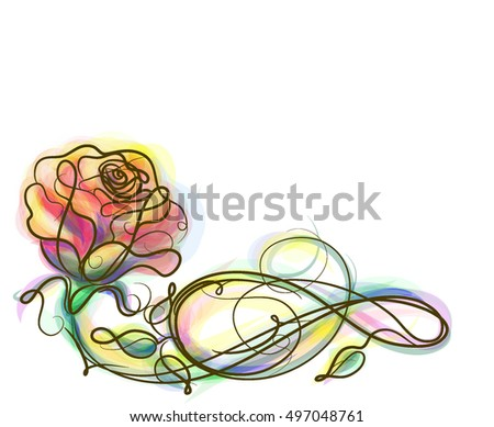Drawing vector graphics with floral pattern for design. Floral flower natural design. Graphic, sketch drawing.Rose