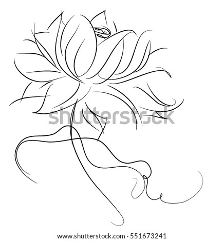 Drawing vector graphics with floral pattern for design. Floral flower natural design. Graphic, sketch drawing. Religion, symbol, lotus, water lily, lily, Buddhism, Buddha, Hinduism