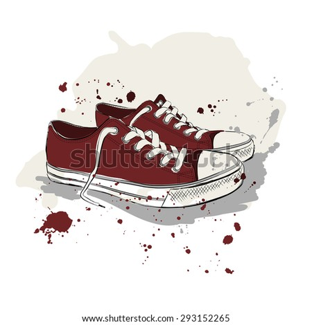 Drawing vector illustration with red sneakers and splash paint - stock vector