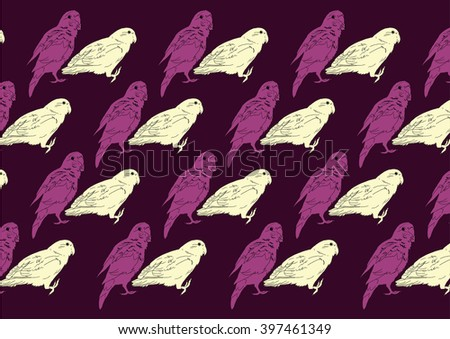 Drawing vector isolated parrots on dark purple background