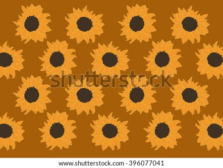 Drawing vector isolated sunflowers on brown background