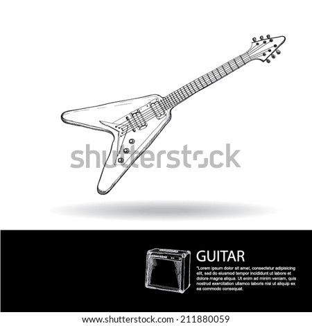 drawing vector set of rock'n roll band equipment. Guitar  - stock vector
