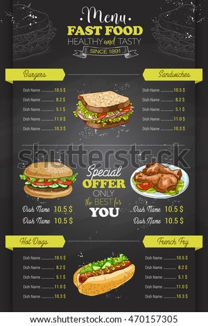 Drawing Vertical Scetch Fast Food Menu Stock Vector 470157398