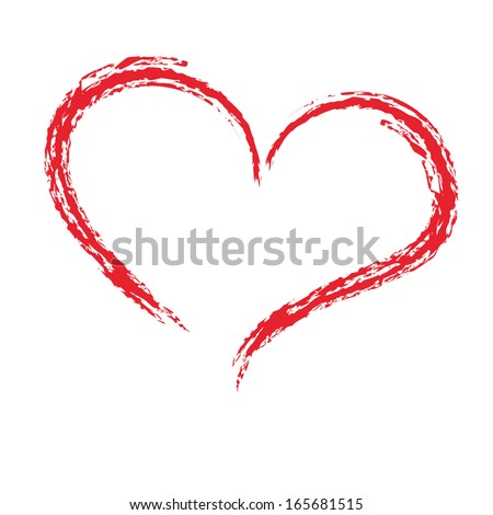 Drawing with a brush in the shape of heart, love symbol on white background, vector illustration - stock vector