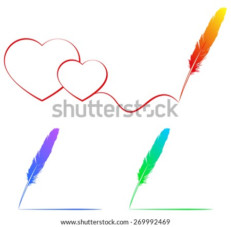 drawing with a  colour feather, vector - stock vector