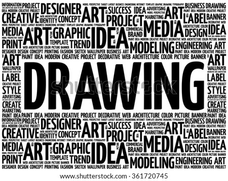 DRAWING word cloud, creative business concept background - stock vector