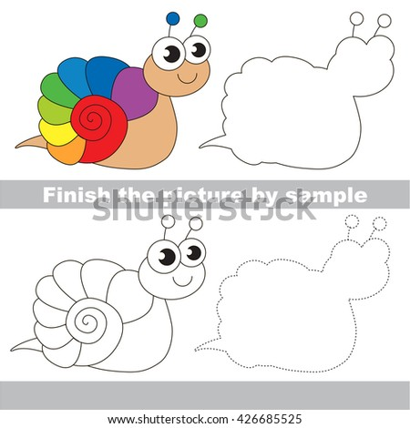 Drawing worksheet for children. Easy kid game. Simple level of difficulty. Finish the picture and draw the cute The rainbow snail - stock vector