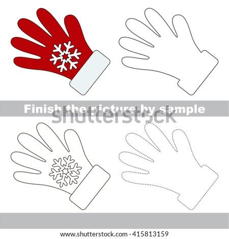 Drawing worksheet for children. Finish the picture and draw the cute Glove